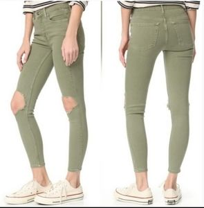 Free people busted knee skinny jean olive green 26